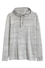 Hooded fine-knit cotton jumper - Grey marl - Men | H&M CN 2