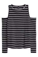 Ribbed cold shoulder top - Black/White/Striped - Ladies | H&M CN 2
