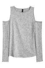 Ribbed cold shoulder top - Grey - Ladies | H&M CN 2