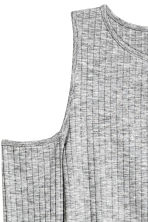 Ribbed cold shoulder top - Grey - Ladies | H&M CN 3