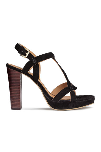 Suede platform sandals - Black - Ladies | H&M CN