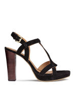 Suede platform sandals - Black - Ladies | H&M CN 1