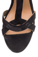 Suede platform sandals - Black - Ladies | H&M CN 3
