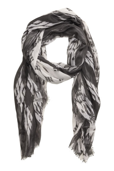 Patterned scarf - Dark grey/White - Ladies | H&M CN 1