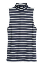 Sleeveless turtleneck top - Dark blue/Striped - Ladies | H&M CN 2
