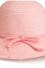 Glittery straw hat - Light pink/Glittery -  | H&M CN 3