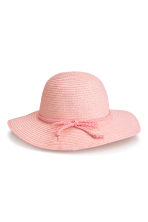 Glittery straw hat - Light pink/Glittery -  | H&M CN 1