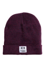 Fine-knit hat - Burgundy marl - Kids | H&M CN 1