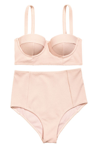 Textured bikini - Powder pink - Ladies | H&M CN