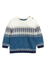 Jacquard-knit cotton jumper - Blue marl - Kids | H&M CN 1