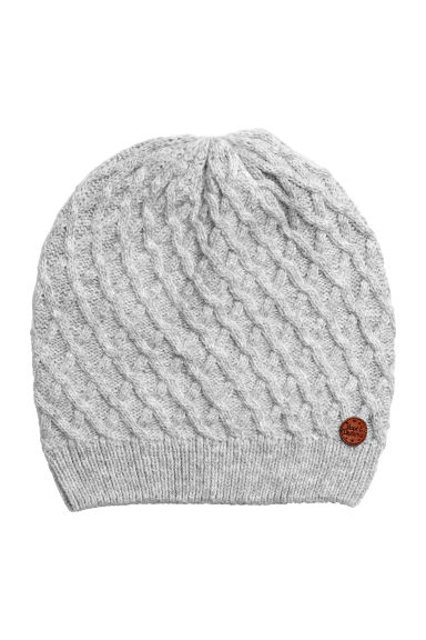 Hat in a textured knit - Grey marl - Kids | H&M CN 1
