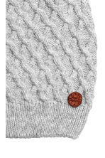 Hat in a textured knit - Grey marl - Kids | H&M CN 2