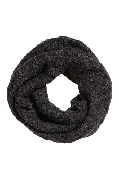 Tube scarf in a textured knit - Black marl - Kids | H&M CN 1