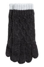 Knitted gloves - Black marl - Kids | H&M CN 1