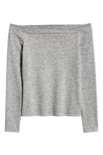 Off-the-shoulder top - Grey marl - Ladies | H&M CN 2