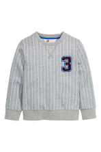 Sweatshirt with a motif - Grey/Striped -  | H&M CN 2