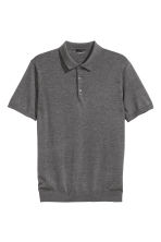 Silk-blend polo shirt - Dark grey marl - Men | H&M CN 2