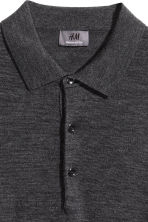 Merino wool polo shirt - Dark grey marl - Men | H&M 4