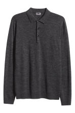 Merino wool polo shirt - Dark grey marl - Men | H&M 3