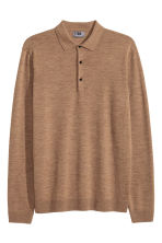 Merino wool polo shirt - Dark beige marl - Men | H&M 2