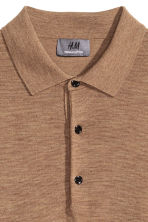 Merino wool polo shirt - Dark beige marl - Men | H&M 3