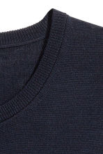 Merino wool jumper - Dark blue - Men | H&M IE 3