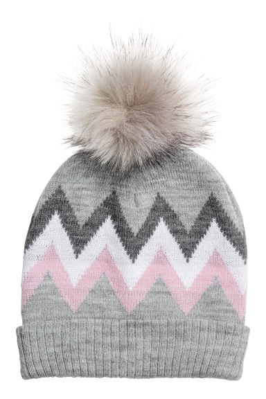 Jacquard-knit hat - Grey marl - Kids | H&M CN 1