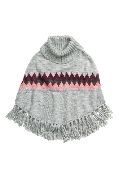 Knitted poncho - Grey marl - Kids | H&M CN 1