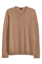 V-neck merino wool jumper - Light camel - Men | H&M CN 2