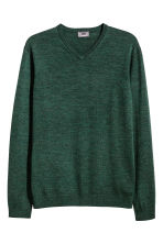 V-neck merino wool jumper - Dark green marl - Men | H&M CN 2