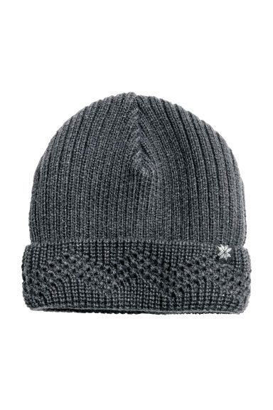 Rib-knit hat - Dark grey/Glittery - Kids | H&M CN