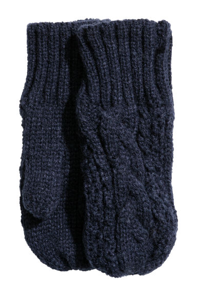 Cable-knit mittens - Dark blue - Kids | H&M CN 1