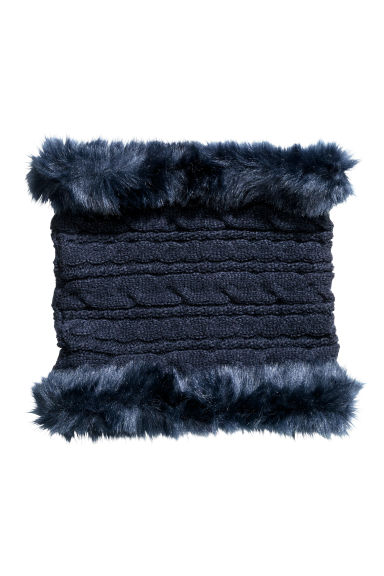 Cable-knit tube scarf - Dark blue -  | H&M CN