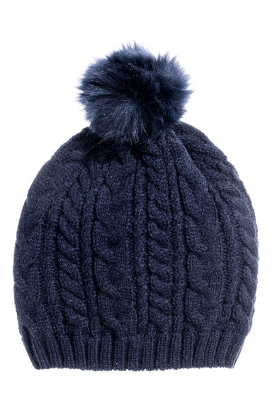 Cable-knit hat - Dark blue - Kids | H&M CN 1