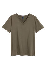 V-neck T-shirt - Khaki green - Men | H&M CN 2