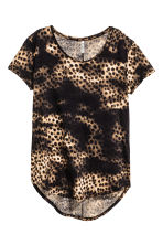 Jersey crêpe top - Black/Leopard print - Ladies | H&M CN 2