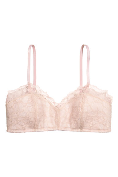 Non-wired lace bandeau bra - Powder pink - Ladies | H&M CN 1