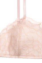 Non-wired lace bandeau bra - Powder pink - Ladies | H&M CN 2