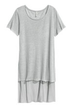 Long linen-blend T-shirt - Grey - Ladies | H&M CN 2