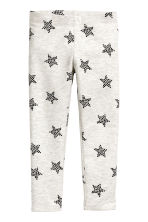 Sturdy jersey leggings - Light grey marl/Stars - Kids | H&M CN 2