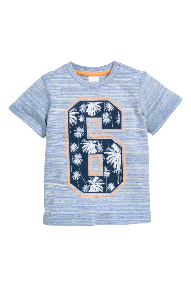 Printed T-shirt - Blue marl - Kids | H&M CN 1
