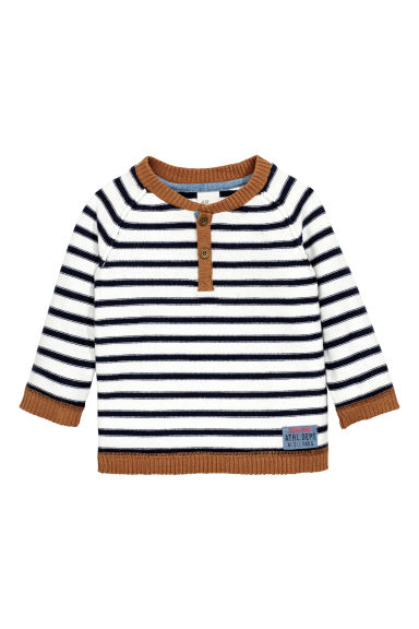 Fine-knit jumper - White/Striped - Kids | H&M CN 1