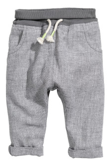 Pull-on linen-blend trousers