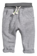 Pull-on linen-blend trousers - Grey marl - Kids | H&M CN 1