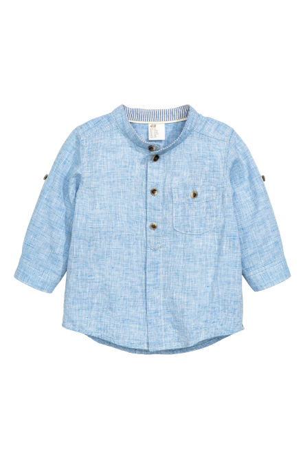 Collarless linen-blend shirt