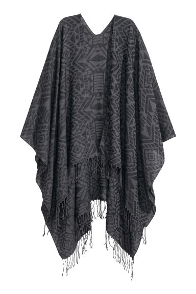 Jacquard-weave poncho - Black/Patterned - Ladies | H&M CN 1