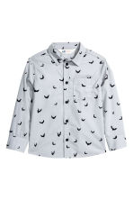 Printed cotton shirt - Light grey/Bat - Kids | H&M CN 2