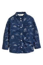 Printed cotton shirt - Dark blue/Space - Kids | H&M CN 2