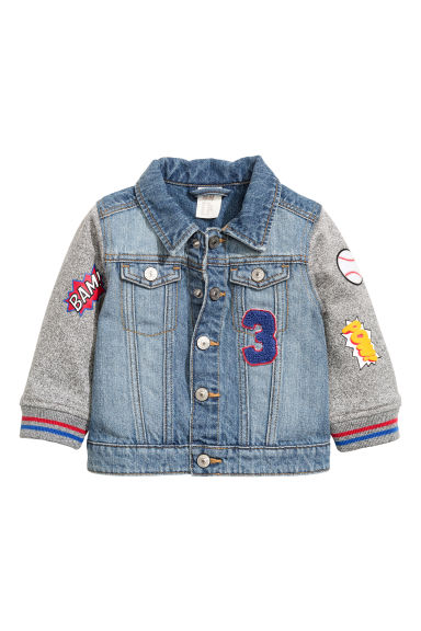 Jacket with sweatshirt sleeves - Denim blue - Kids | H&M CN 1