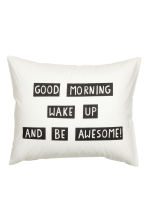 Pillowcase with text print - White - Home All | H&M CN 1